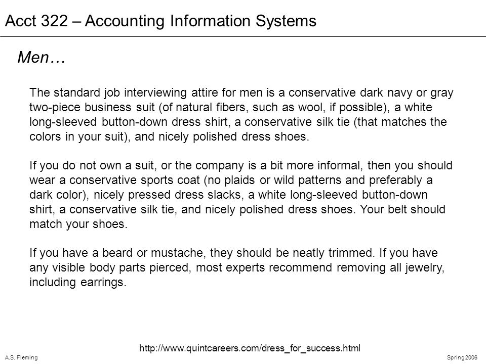 A.S. FlemingSpring 2006 Acct 322 – Accounting Information Systems The standard job interviewing attire for men is a conservative dark navy or gray two