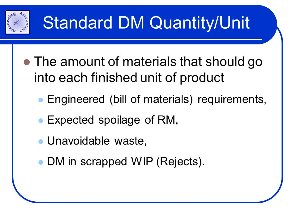 Standard DM Quantity/Unit The amount of materials that should go into each finished unit of product Engineered (bill of materials) requirements, Expec