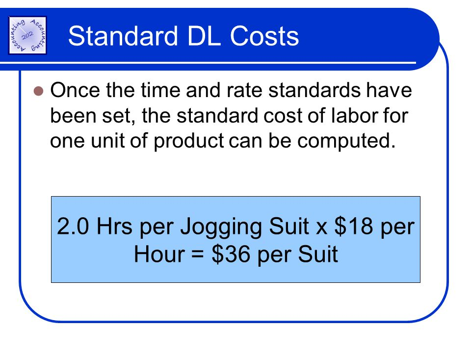 Standard DL Costs Once the time and rate standards have been set, the standard cost of labor for one unit of product can be computed. 2.0 Hrs per Jogg