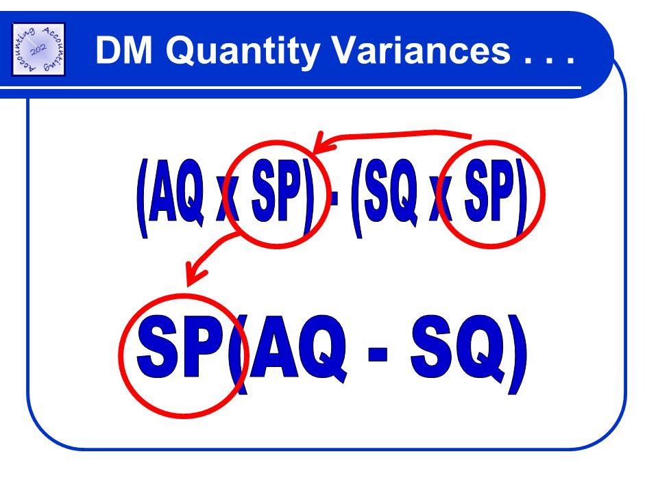 DM Quantity Variances...