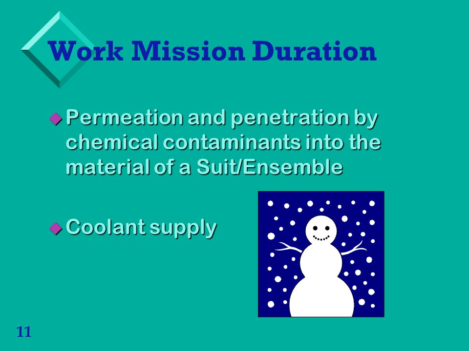 11 Work Mission Duration Permeation and penetration by chemical contaminants into the material of a Suit/Ensemble Permeation and penetration by chemical contaminants into the material of a Suit/Ensemble Coolant supply Coolant supply