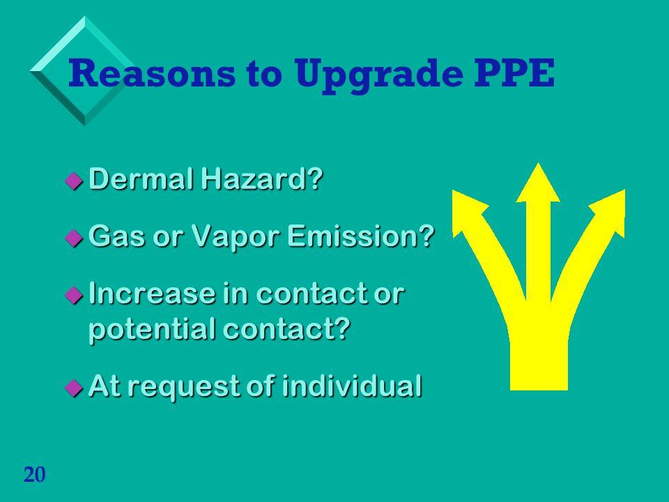 20 Reasons to Upgrade PPE Dermal Hazard? Dermal Hazard? Gas or Vapor Emission? Gas or Vapor Emission? Increase in contact or potential contact? Increa
