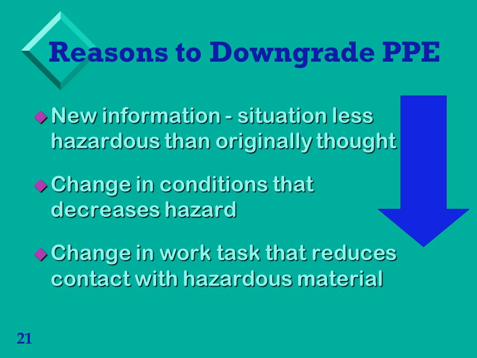 21 Reasons to Downgrade PPE New information - situation less hazardous than originally thought New information - situation less hazardous than originally thought Change in conditions that decreases hazard Change in conditions that decreases hazard Change in work task that reduces contact with hazardous material Change in work task that reduces contact with hazardous material