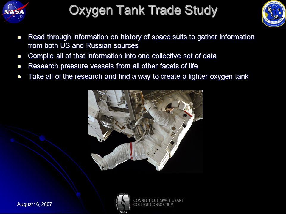 August 16, 2007 Oxygen Tank Trade Study Read through information on history of space suits to gather information from both US and Russian sources Read through information on history of space suits to gather information from both US and Russian sources Compile all of that information into one collective set of data Compile all of that information into one collective set of data Research pressure vessels from all other facets of life Research pressure vessels from all other facets of life Take all of the research and find a way to create a lighter oxygen tank Take all of the research and find a way to create a lighter oxygen tank