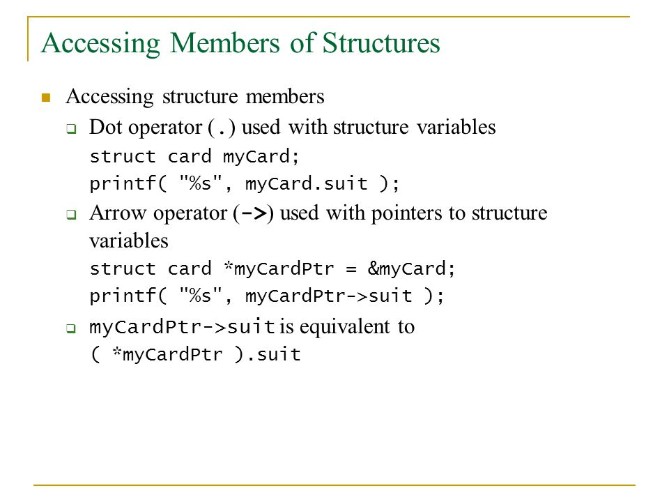 Accessing Members of Structures Accessing structure members Dot operator (.