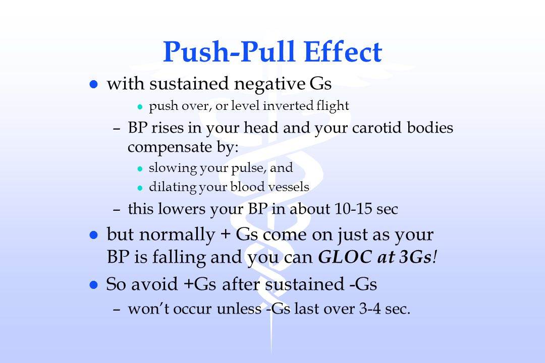 Push-Pull Effect l with sustained negative Gs l push over, or level inverted flight –BP rises in your head and your carotid bodies compensate by: l sl