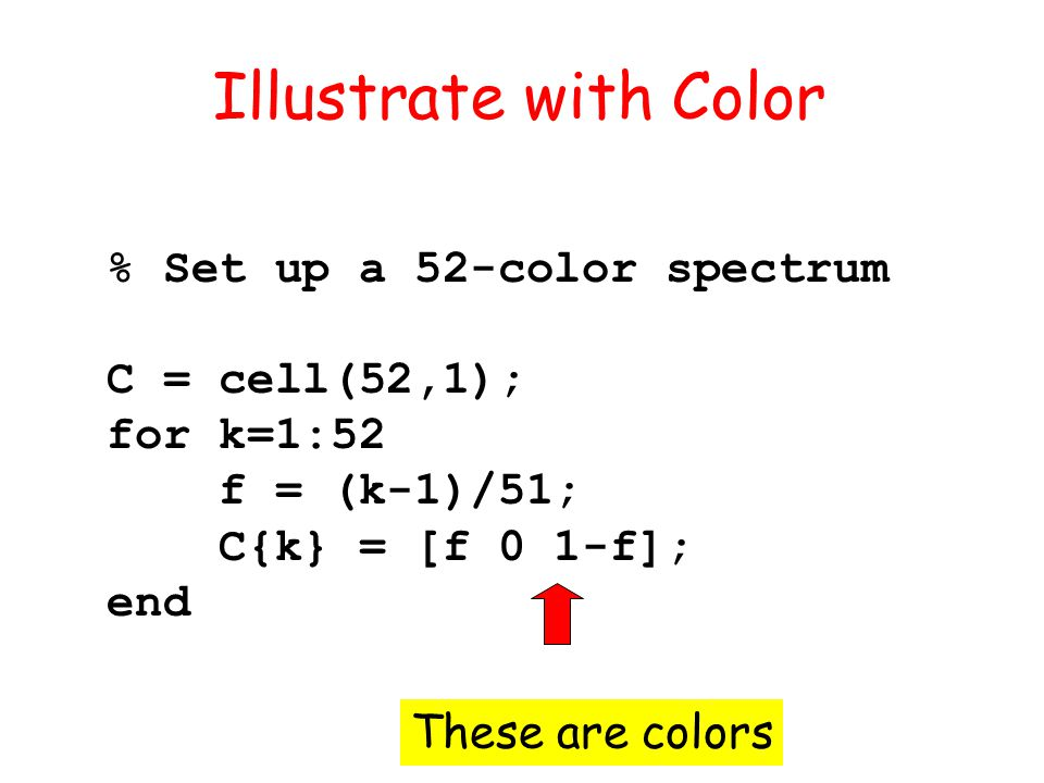 % Set up a 52-color spectrum C = cell(52,1); for k=1:52 f = (k-1)/51; C{k} = [f 0 1-f]; end Illustrate with Color These are colors