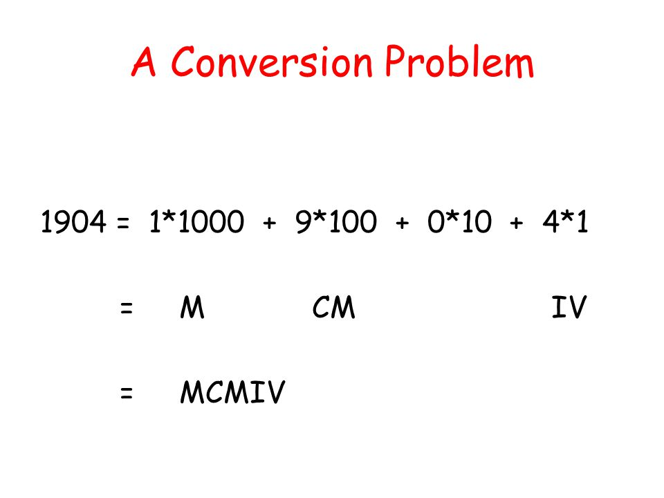 A Conversion Problem 1904 = 1*1000 + 9*100 + 0*10 + 4*1 = M CM IV