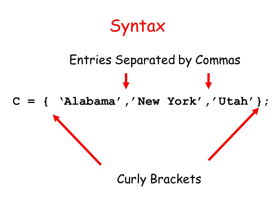 Syntax C = { Alabama,New York,Utah}; Curly Brackets Entries Separated by Commas