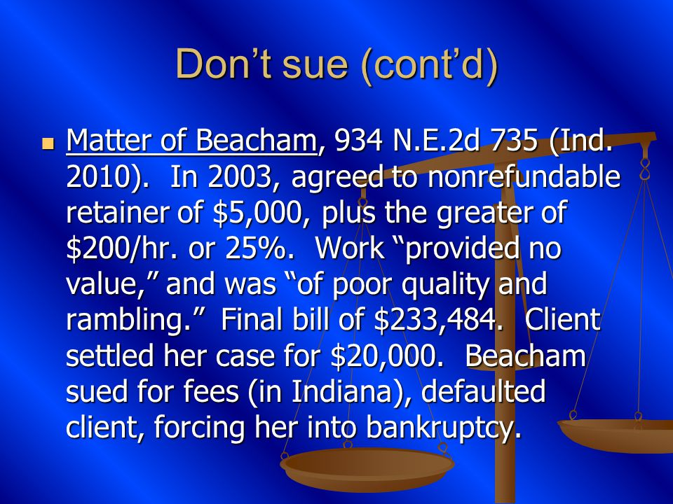 Dont sue (contd) Matter of Beacham, 934 N.E.2d 735 (Ind.