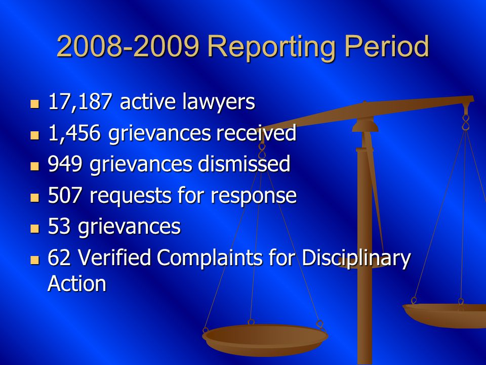 2008-2009 Reporting Period 17,187 active lawyers 17,187 active lawyers 1,456 grievances received 1,456 grievances received 949 grievances dismissed 949 grievances dismissed 507 requests for response 507 requests for response 53 grievances 53 grievances 62 Verified Complaints for Disciplinary Action 62 Verified Complaints for Disciplinary Action
