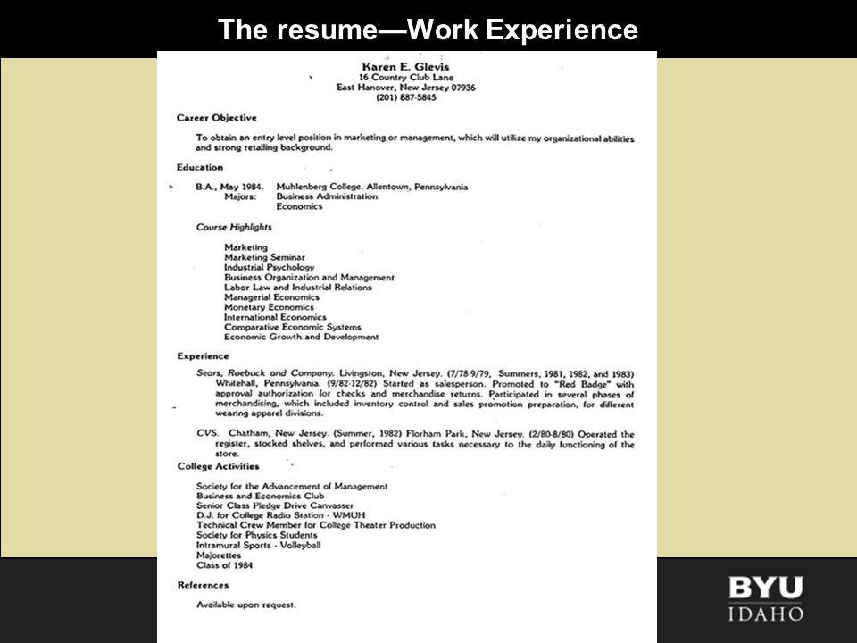 The resumeWork Experience