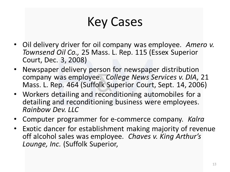 Key Cases Oil delivery driver for oil company was employee.