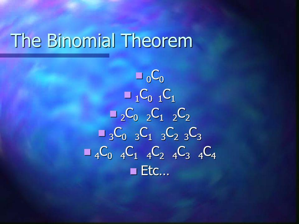 The Binomial Theorem 0 C 0 0 C 0 1 C 0 1 C 1 1 C 0 1 C 1 2 C 0 2 C 1 2 C 2 2 C 0 2 C 1 2 C 2 3 C 0 3 C 1 3 C 2 3 C 3 3 C 0 3 C 1 3 C 2 3 C 3 4 C 0 4 C 1 4 C 2 4 C 3 4 C 4 4 C 0 4 C 1 4 C 2 4 C 3 4 C 4 Etc… Etc…