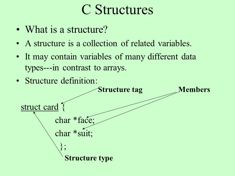C Structures What is a structure? A structure is a collection of related variables. It may contain variables of many different data types---in contras