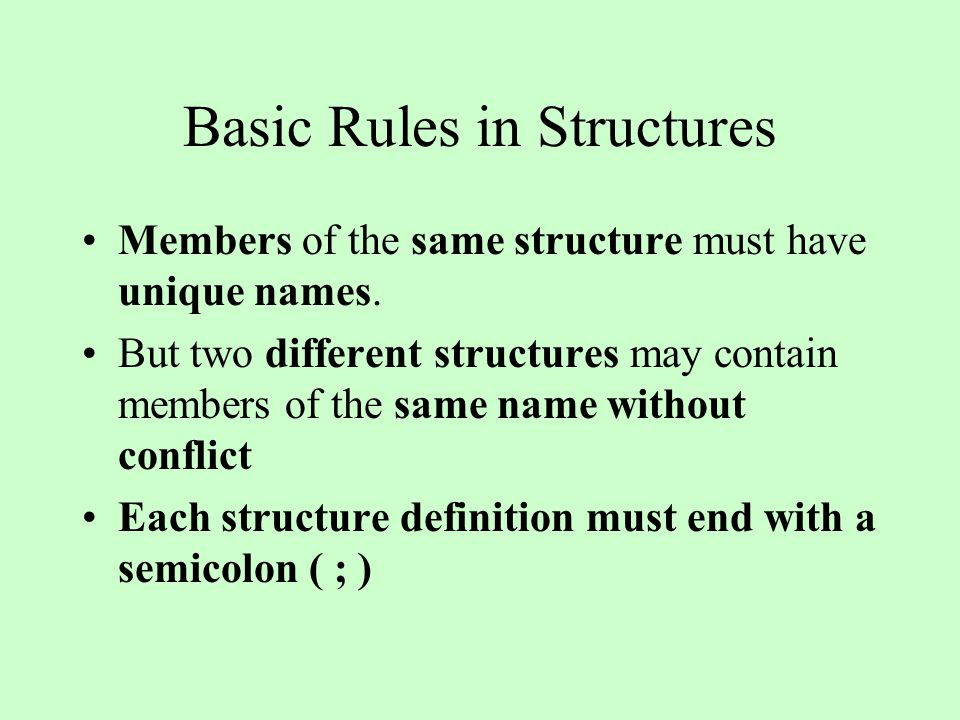 Basic Rules in Structures Members of the same structure must have unique names.