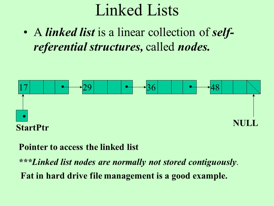 Linked Lists A linked list is a linear collection of self- referential structures, called nodes.... Pointer to access the linked list NULL 17293648. S