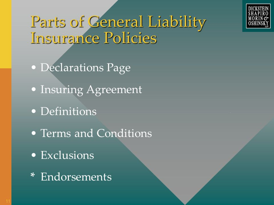 Parts of General Liability Insurance Policies Declarations Page Insuring Agreement Definitions Terms and Conditions Exclusions *Endorsements 11