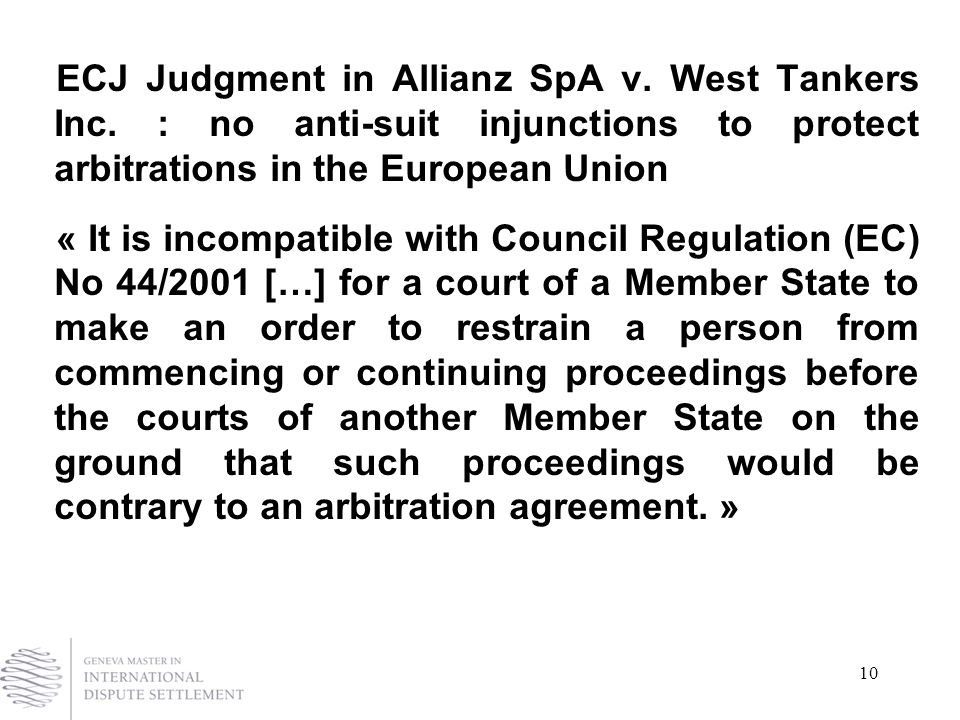 10 ECJ Judgment in Allianz SpA v. West Tankers Inc.