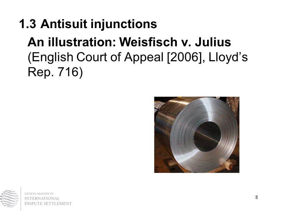 8 1.3Antisuit injunctions An illustration: Weisfisch v.