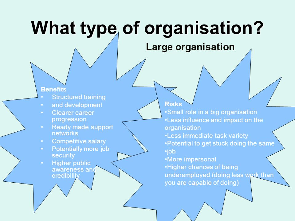 What type of organisation? Benefits Structured training and development Clearer career progression Ready made support networks Competitive salary Pote