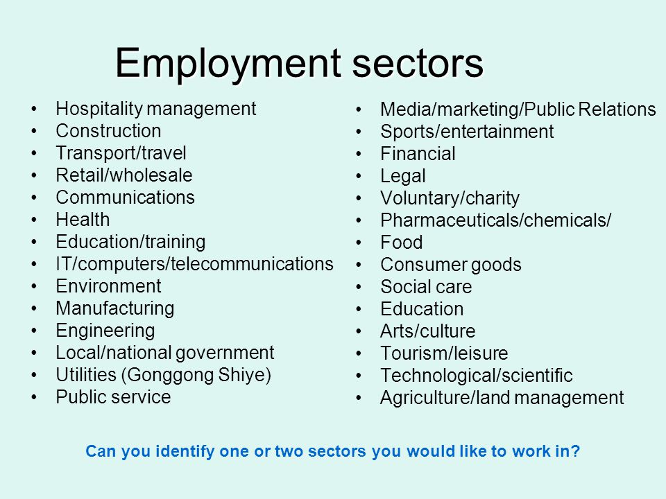 Employment sectors Hospitality management Construction Transport/travel Retail/wholesale Communications Health Education/training IT/computers/telecom