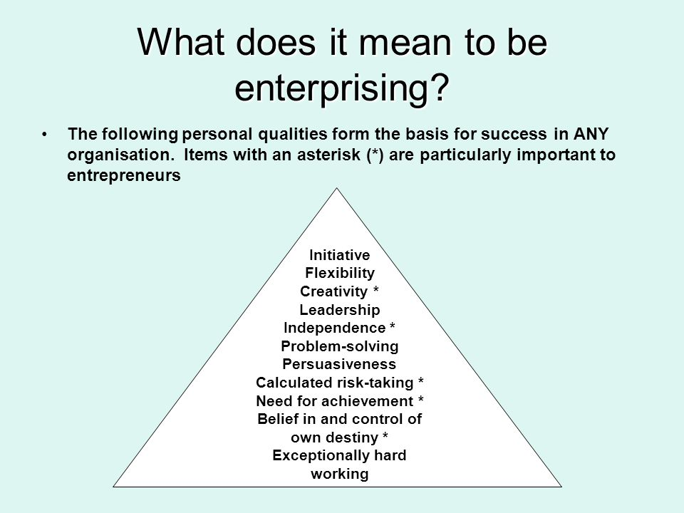 What does it mean to be enterprising? The following personal qualities form the basis for success in ANY organisation. Items with an asterisk (*) are