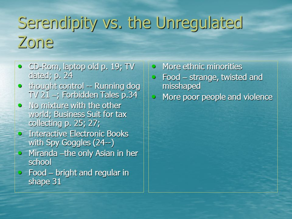Serendipity vs. the Unregulated Zone CD-Rom, laptop old p.