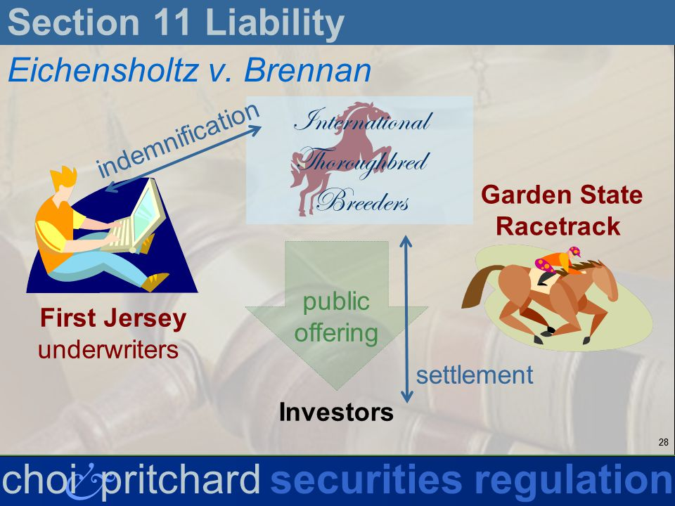 28 & choi pritchardsecurities regulation Section 11 Liability Eichensholtz v.