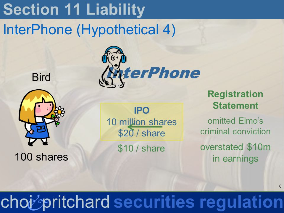 66 & choi pritchardsecurities regulation Section 11 Liability InterPhone (Hypothetical 4) InterPhone IPO 10 million shares $20 / share Registration Statement omitted Elmos criminal conviction overstated $10m in earnings $10 / share Bird 100 shares