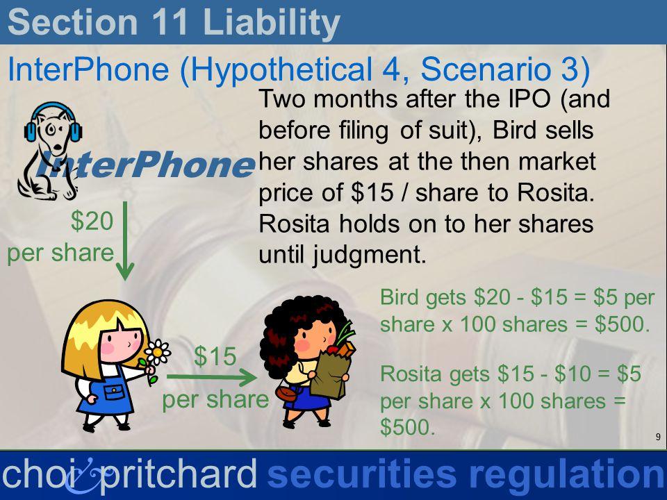 30 & choi pritchardsecurities regulation Section 11 Liability Eichensholtz v.
