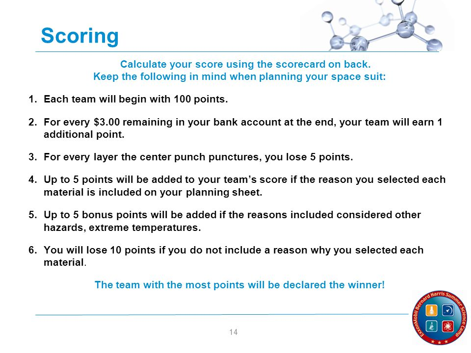 14 Scoring Calculate your score using the scorecard on back. Keep the following in mind when planning your space suit: 1.Each team will begin with 100