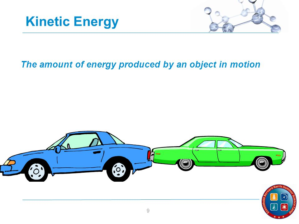9 Kinetic Energy The amount of energy produced by an object in motion
