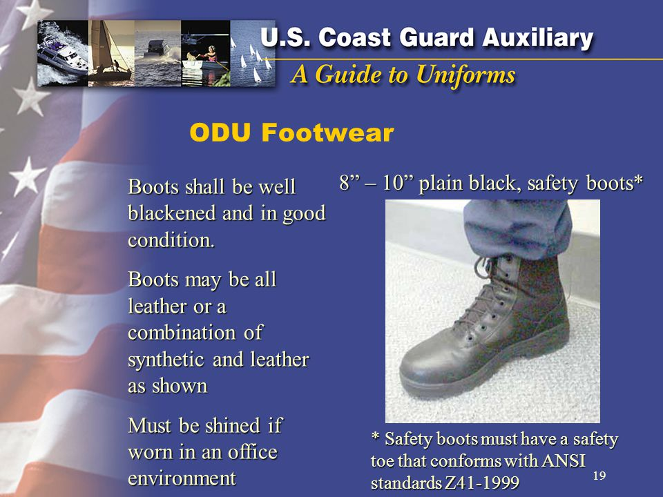 ODU Footwear 8 – 10 plain black, safety boots* Boots shall be well blackened and in good condition.