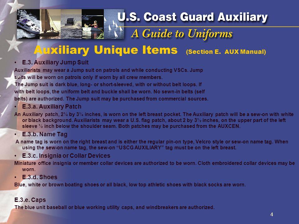 Auxiliary Unique Items (Section E.AUX Manual) E.3.