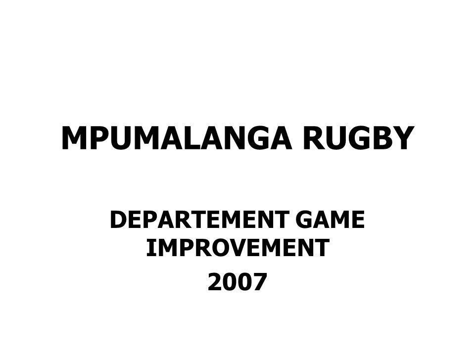MPUMALANGA RUGBY WOMENS RUGBY IN GAME IMPROVEMENT Management Plan 2007