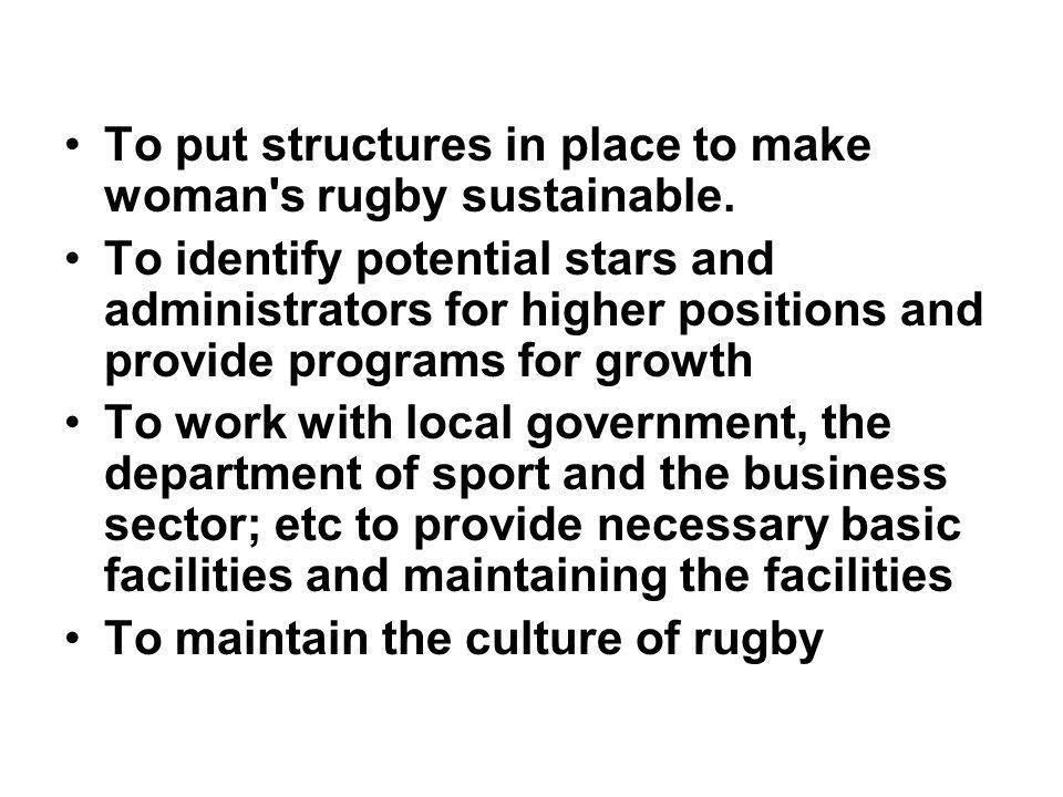 VISION To establish the elite in rugby in Mpumalanga Rugby Union together with the Mpumalanga Academy of Sport (MAS) as one of the best organized structures in all its facet in rugby game improvement.