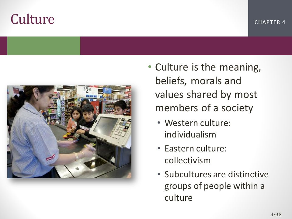 CHAPTER 2CHAPTER 1 CHAPTER 4 4-38 Culture is the meaning, beliefs, morals and values shared by most members of a society Western culture: individualis
