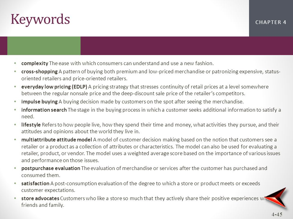 CHAPTER 2CHAPTER 1 CHAPTER 4 4-45 Keywords complexity The ease with which consumers can understand and use a new fashion. cross-shopping A pattern of