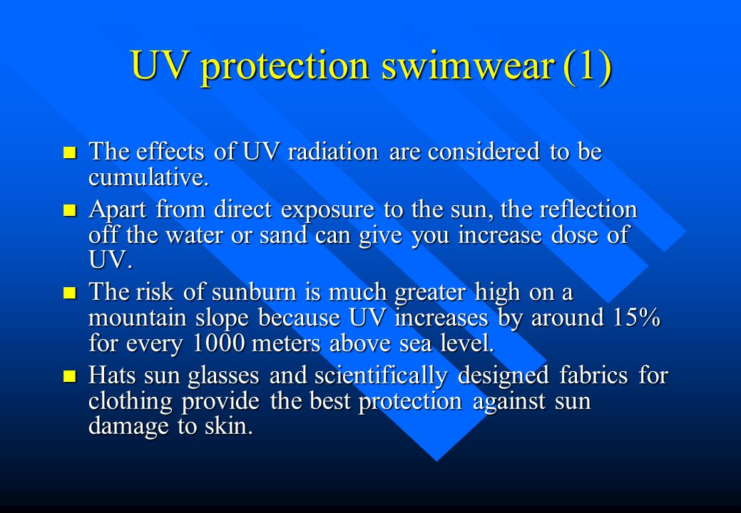 New Development Lessons from Australia n Apart from design, stretch and fit, new developments are needed for modern swimwear. n They are Ultra-Violent