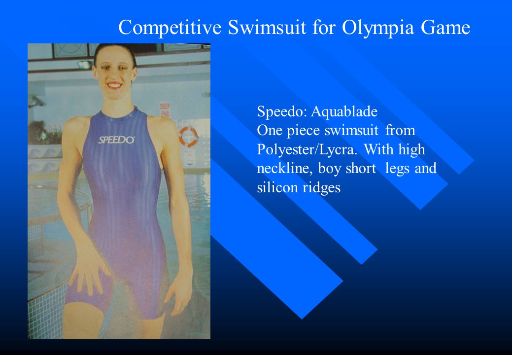 Competitive Swimwear for Olympia Game Training suit with a high neck from 80% nylon, 20% Lycra. It is soft and sticky to touch, lightweight, fast dryi