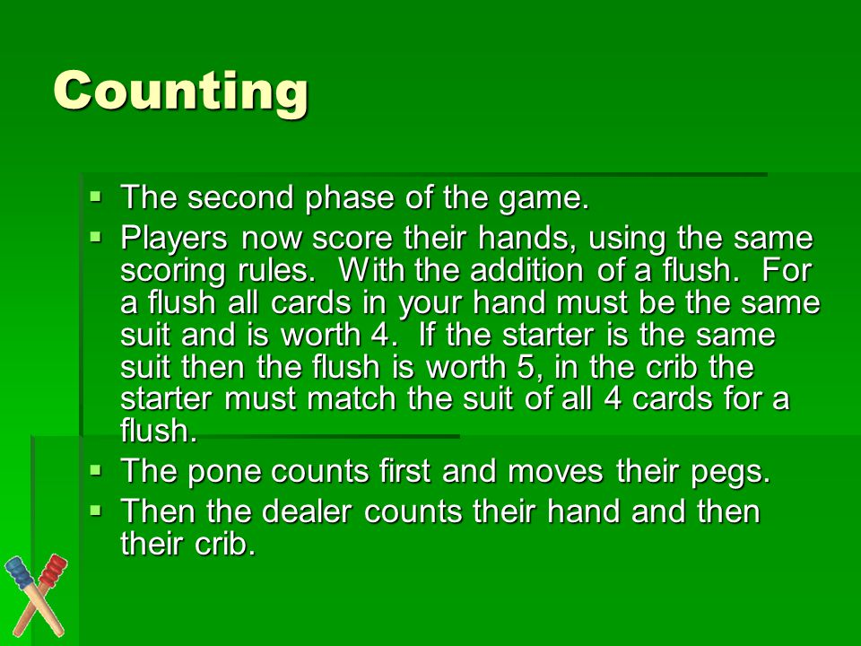 Examples of how to count Suppose a player has the cards 1,1,2,3 and a king is the starter card.