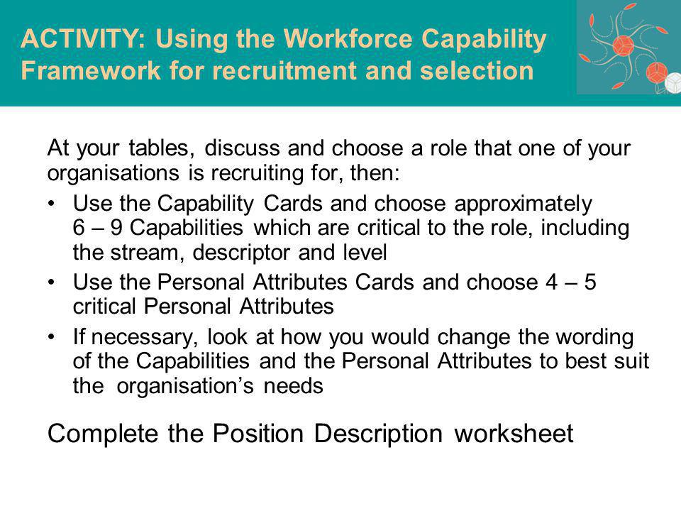 At your tables, d iscuss and choose a role that one of your organisations is recruiting for, then: Use the Capability Cards and choose approximately 6 – 9 Capabilities which are critical to the role, including the stream, descriptor and level Use the Personal Attributes Cards and choose 4 – 5 critical Personal Attributes If necessary, look at how you would change the wording of the Capabilities and the Personal Attributes to best suit the organisations needs Complete the Position Description worksheet ACTIVITY: Using the Workforce Capability Framework for recruitment and selection