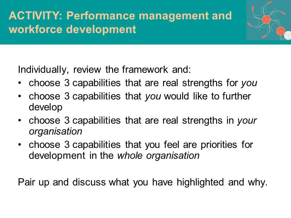 Individually, review the framework and: choose 3 capabilities that are real strengths for you choose 3 capabilities that you would like to further develop choose 3 capabilities that are real strengths in your organisation choose 3 capabilities that you feel are priorities for development in the whole organisation Pair up and discuss what you have highlighted and why.