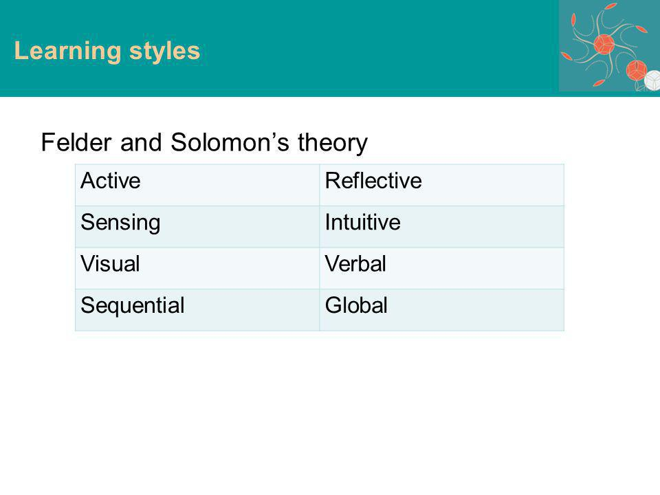 Learning styles Felder and Solomons theory ActiveReflective SensingIntuitive VisualVerbal SequentialGlobal