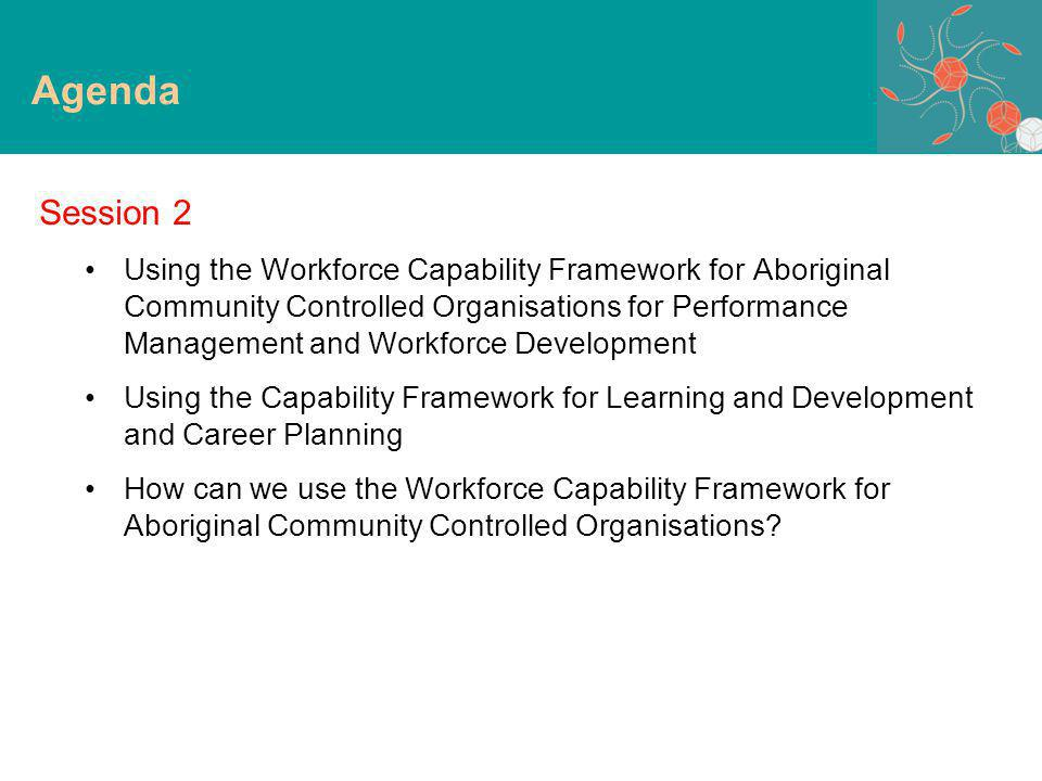 Understand the Workforce Capability Framework for Aboriginal Community Controlled Organisations –development –content –possible uses –taking the Framework to your own organisations Implement the Capability Framework –use tools developed –adapt to meet requirements of own organisation Purpose of session Purpose of Session