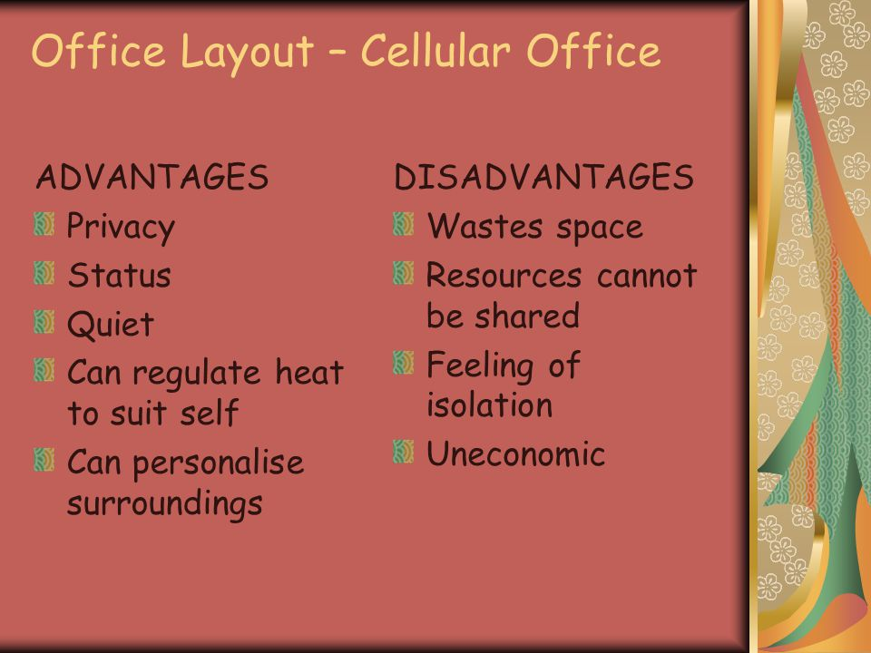 Office Layout – Cellular Office ADVANTAGES Privacy Status Quiet Can regulate heat to suit self Can personalise surroundings DISADVANTAGES Wastes space Resources cannot be shared Feeling of isolation Uneconomic