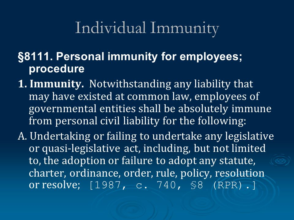 Individual Immunity §8111. Personal immunity for employees; procedure 1.