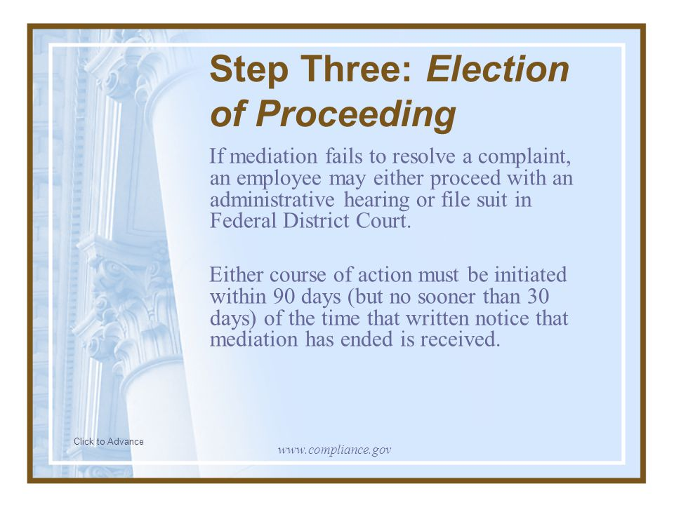 Step Three: Election of Proceeding If mediation fails to resolve a complaint, an employee may either proceed with an administrative hearing or file su