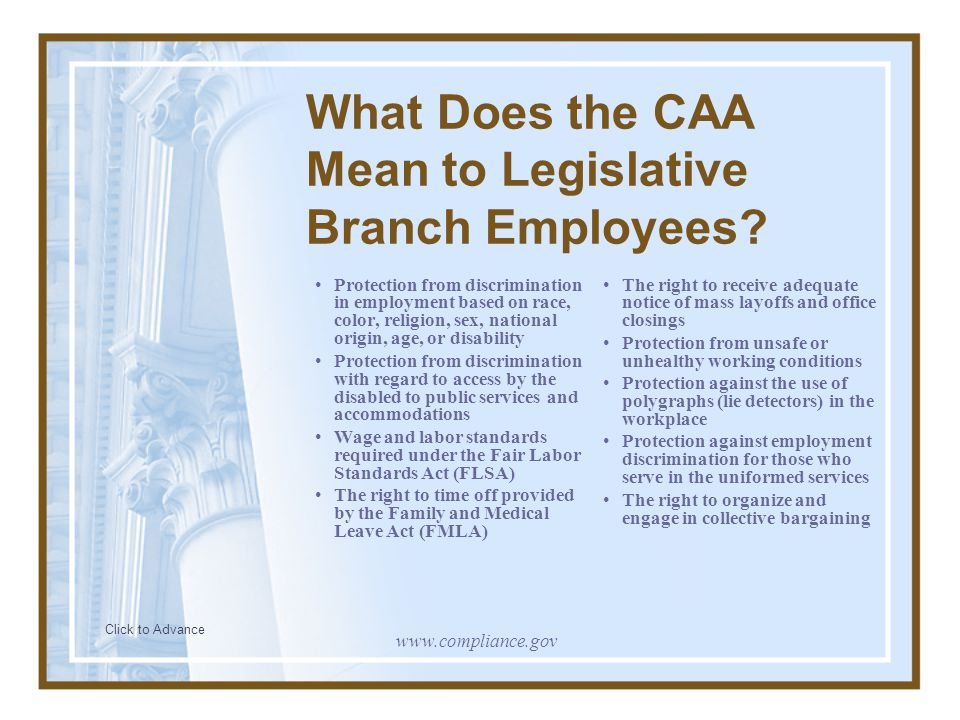 Who is Covered by the CAA.
